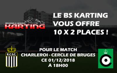 Le Brussels South Karting vous offre des places pour Charleroi – Cercle de Bruges